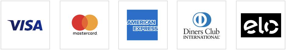 Bandeiras de cartões de crédito aceitas: Visa, Mastercard, American Express, Dinners Club Internacional e Elo