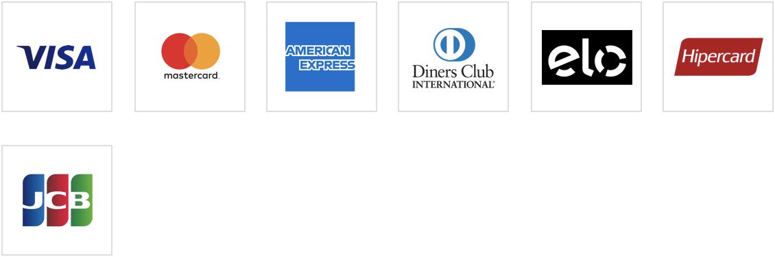 Cartões de crédito aceitos: Visa, MasterCard, American Express, Diners, Elo, Hipercard e JCB.