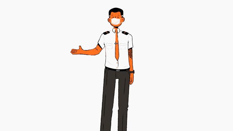Ilustración de un miembro de la tripulación con una máscara.