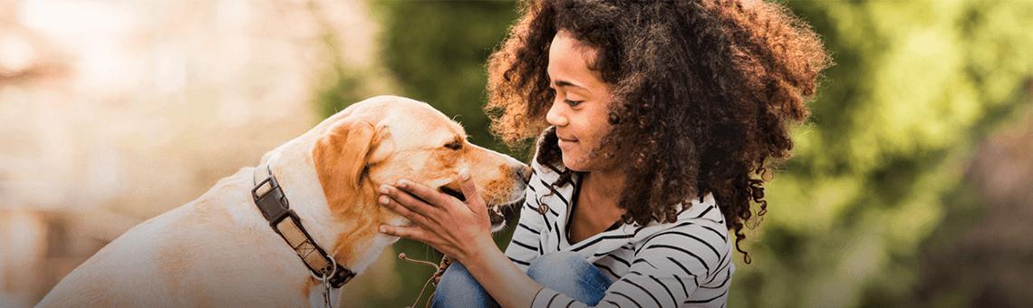 Mulher interagindo com um cachorro