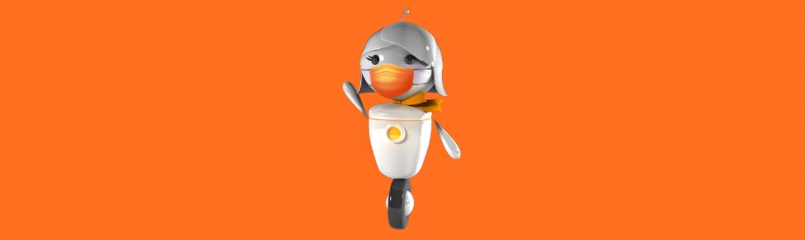 Imagem da Gal acenando, a robô de atendimento da GOL