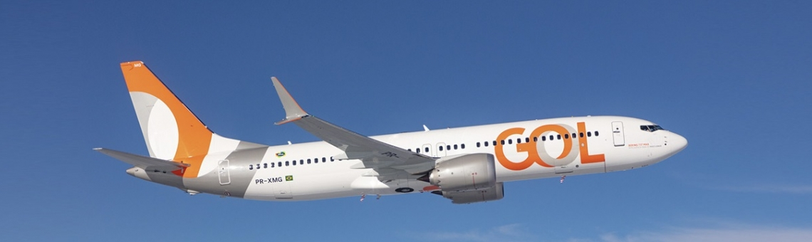 Gol aircraft flying over the blue sky
