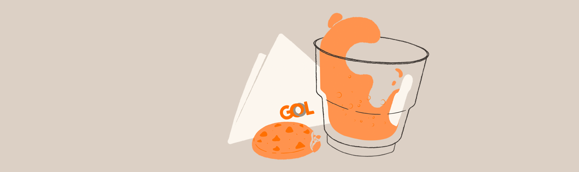 Illustration on a yellow background of an in-flight service snack.