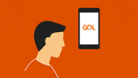 Illustration of a man and a cellphone with the logo of GOL