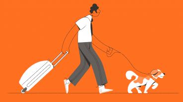 Ilustração de um homem andando puxando uma mala e com um cachorro na coleira.