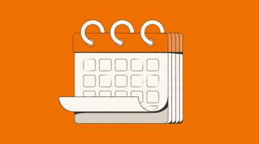Ilustração de um calendário branco com a parte de cima laranja e o fundo laranja.
