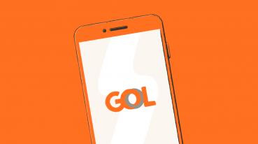 Ilustração de um smartphone com a logo da GOL na tela.