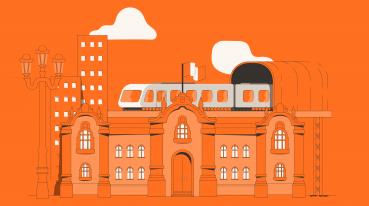Ilustração com fundo laranja de casas, prédios e um trem.