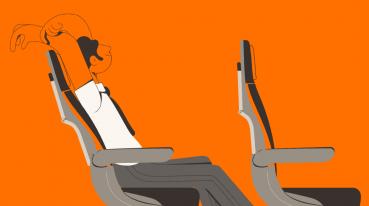 Ilustração de um homem sentado em um dos assentos da GOL.