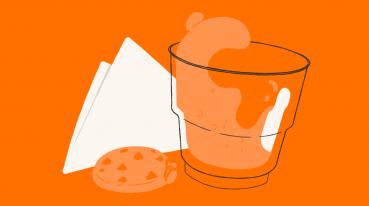 Ilustração de um guardanapo ao lado de um cookie e um copo com bebida.
