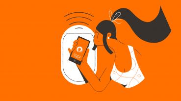 Ilustração de uma mulher na janela do avião GOL segurando um celular conectado.