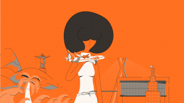 Ilustração com fundo laranja de uma mulher segurando um avião miniatura da gol e atrás prédios, casas, arvores etc.