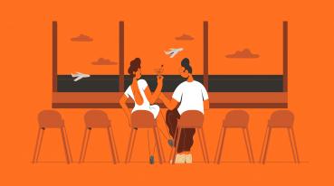 Ilustração com fundo laranja de uma mulher e um homem sentados em cadeiras enquanto tomam um drink e conversam em frente a uma janela grande com vista para a pista de voo.