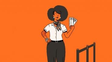 Ilustração com fundo laranja, de uma funcionaria da gol segurando alguns bilhetes do ônibus GOL.