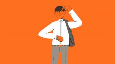 Ilustração com fundo laranja de um homem com uma camisa social branca e uma bolsa, olhando as horas no relógio de pulso.