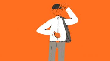 Ilustração com fundo laranja de um homem de camisa branca e calça cinza olhando para seu relógio de pulso.