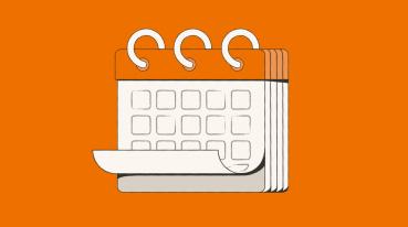 Ilustração com o fundo laranja de um calendário branco.