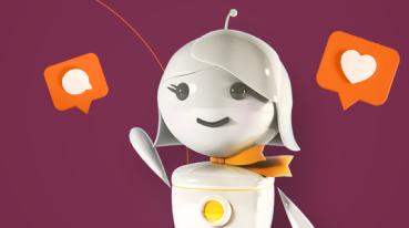 Ilustración de GAL Robo con iconos de chat alrededor