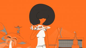 Ilustração com fundo laranja de uma mulher de vestido branco e cabelo preto, segurando um mini avião da gol em frente a algumas estruturas.