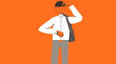 Ilustración con fondo naranja de un hombre mirando su reloj de pulsera.