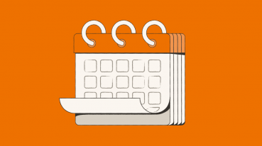 Ilustración con fondo naranja de un calendario.