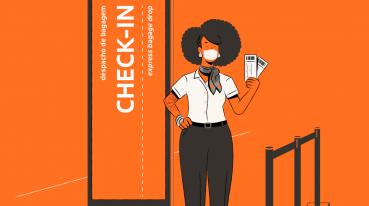 Ilustración con fondo naranja de una mujer en la puerta de embarque con dos billetes.