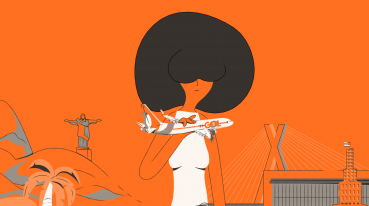 Illustration with orange background of a woman holding a GOL airplane miniature.