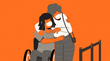 Illustration with orange background of two women embracing, one standing and one in a wheelchair.