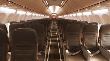 Interior de aeronave da Gol