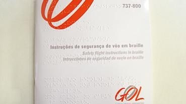 Safety instruction cards in Braille